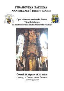 Poutní slavnost titulu strahovské baziliky 2019
